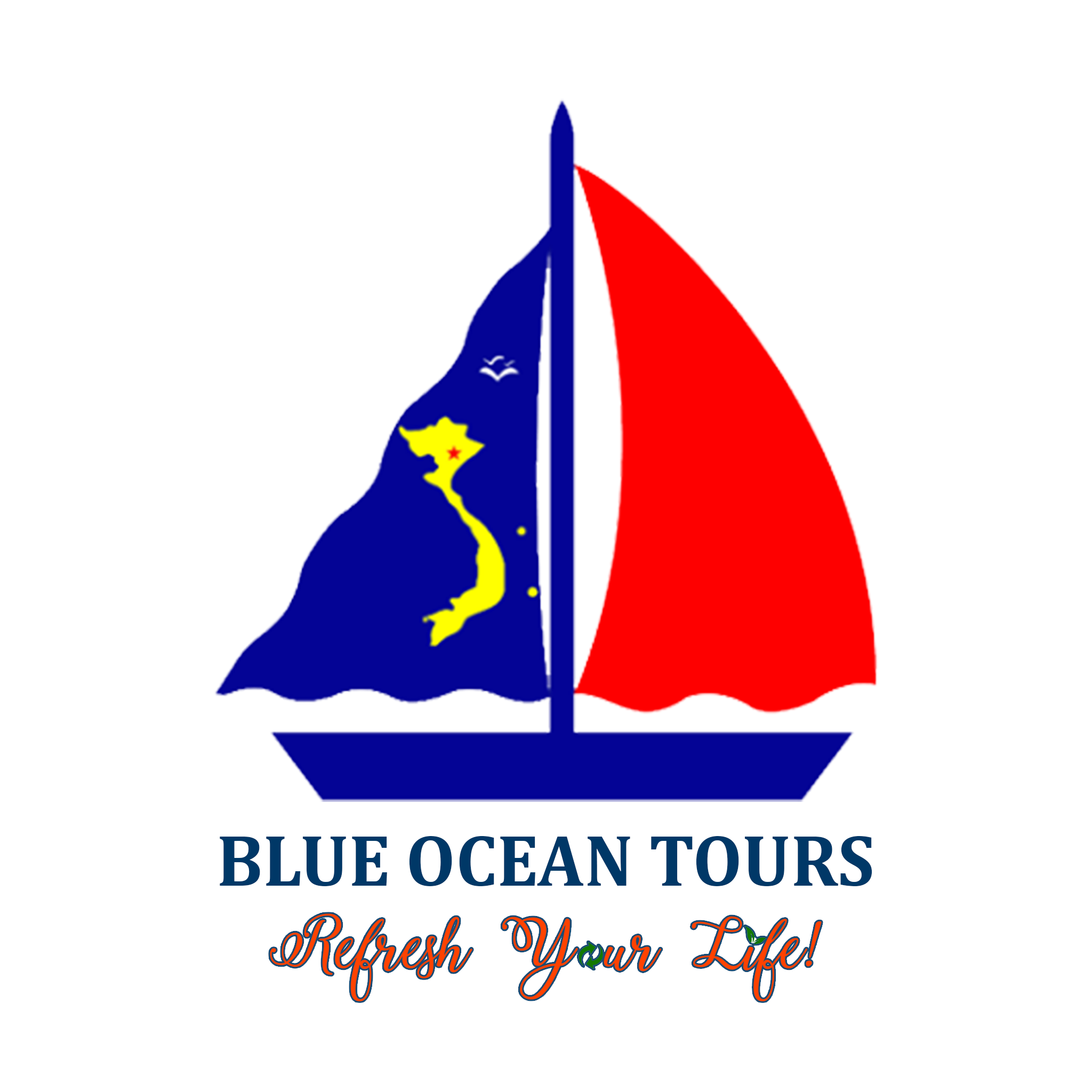 Logo BlueOceanTours and slogan Refresh Your Life