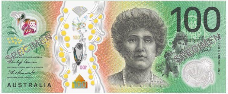 Du lich Australia: mặt trước đồng đô la Úc mệnh giá $100